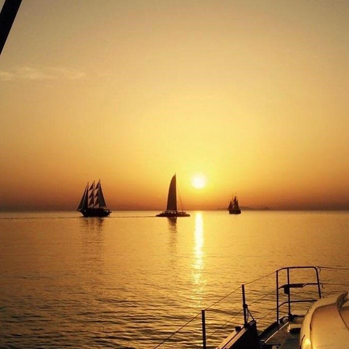 Catamaran boat sunset 2